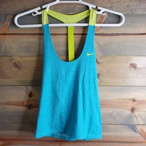 Nike Dry Fit workout top, teal/yellow